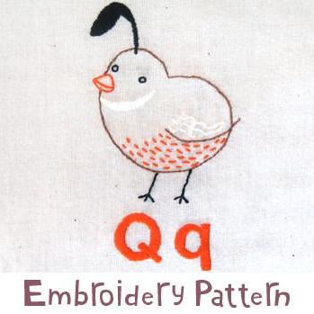 Quail Embroidery - PDF Accessory Pattern