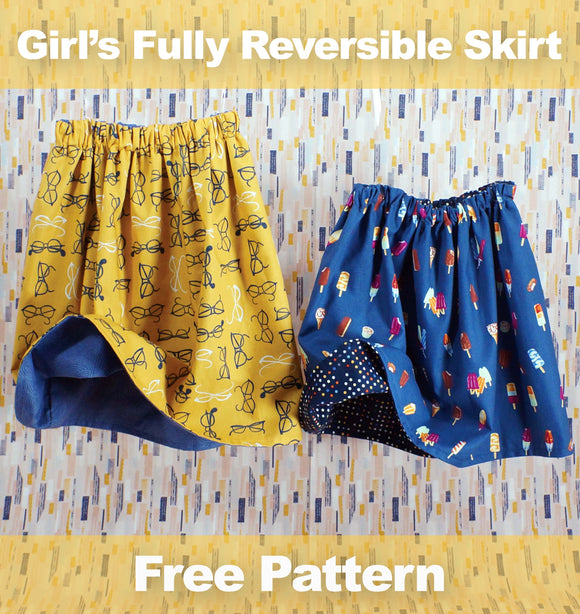 Girl's Fully Reversible Skirt - FREE PDF Pattern