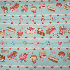 Tea Party Treats in Aqua from See No Evil by Cosmo Textiles House Designers  for Cosmo Textiles