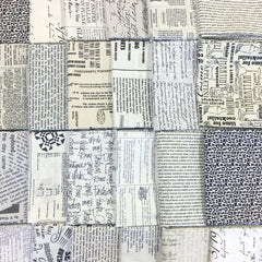 Random Text Print Fat Eighth Pack from Mystery Bundles by Sarah Watts for Kokka
