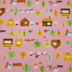 Three Little Pigs in Pink from See No Evil by Cosmo Textiles House Designers  for Cosmo Textiles