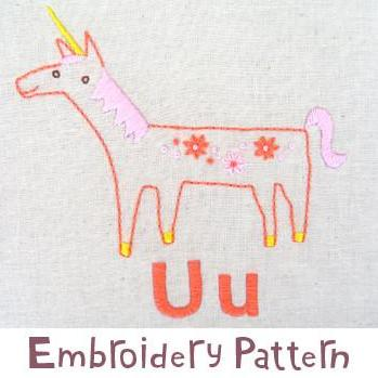 Unicorn Embroidery - PDF Accessory Pattern