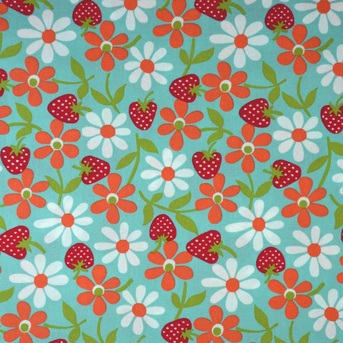 Vintage Time Strawberries and Flowers in Blue