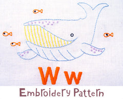 Whale Embroidery - PDF Accessory Pattern by Penguin and Fish