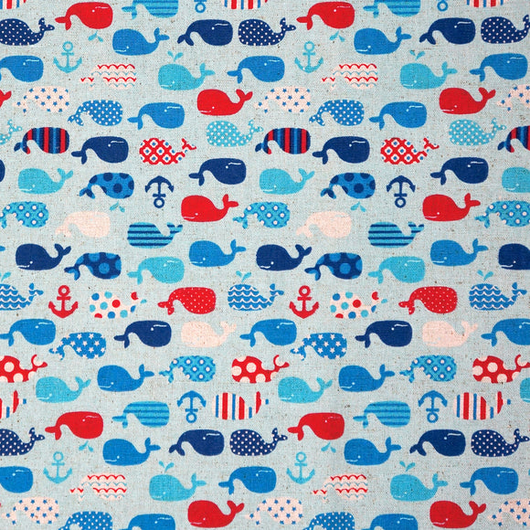 Patterned Whales in Blue
