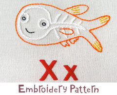 X-Ray Fish Embroidery - PDF Accessory Pattern by Penguin and Fish