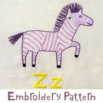 Zebra Embroidery - PDF Accessory Pattern
