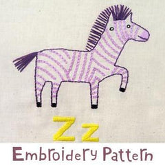 Zebra Embroidery - PDF Accessory Pattern by Penguin and Fish