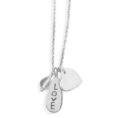 Just LOVE - fashionable 18 Inch Sterling Silver Classy Necklace with Quartz Bead