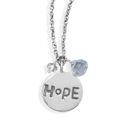 Hope - FINAL SALE Simplified Style Silver Quartz Sterling Silver Pendant