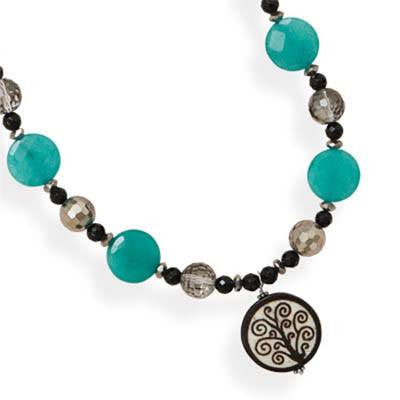 Tree of Life Necklace - Black Onyx Dyed Jade and Czech Glass with Wooden Tree Of Life Bead Sterling Silver Necklace