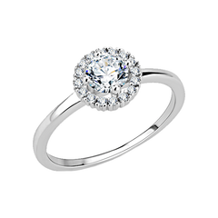 Sweet Halo - Women's Brass Rhodium Plated Clear CZ Engagement Ring