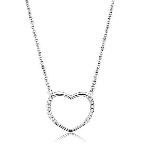 Shining Heart - Rhodium Plated Pendant with Clear CZ Stones