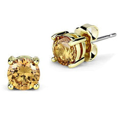 Champagne Round Stud - Gold Plated CZ Earrings