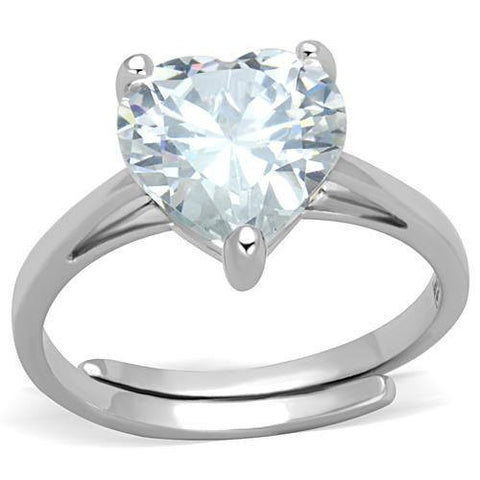 Shimmering Heart - Rhodium Plated with a Clear CZ Stone