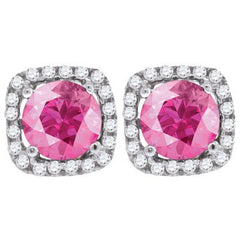 Perfectly Pink - Round cut pink cubic zirconia solitaire with white cz border sterling silver earrings