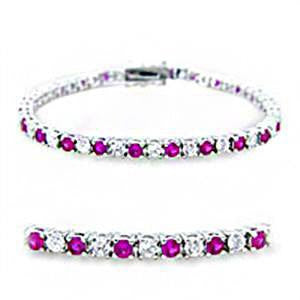 Ruby Sugar - Diamond white and ruby red multiple cubic zirconia silver Rhodium Plated Brass tennis bracelet