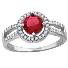 Roxanne – Round red cubic zirconia solitaire with white pavé cz border split band ring