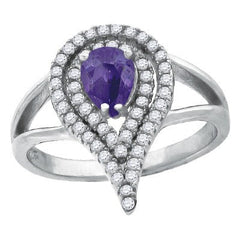 Purple Rain – Amythest purple color teardrop cubic zirconia solitaire in white pavé cz teardrop design sterling silver ring