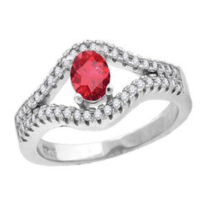Ruby-licious Ring – Ruby cubic zirconia solitaire sterling silver with white pavé cz double band ring