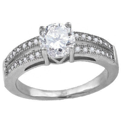Diamond Kiss – Round Clear Cubic Zirconia Solitaire with white pavé cz double band sterling silver ring