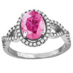 Lush – Oval cut pink cubic zirconia solitaire with white pavé czs openwork sterling silver ring