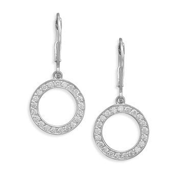 Never Ending Earrings - Rhodium Plated Sterling Silver Earrings with Cubic Zirconias
