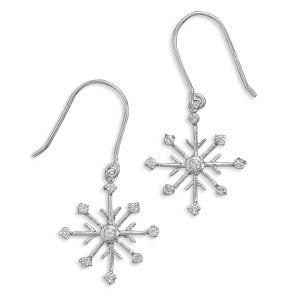 Snowflake Earrings - Rhodium Plated Sterling Silver French Wire Pendant with Cubic Zirconias