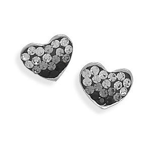 Love in Black Crystal - Remarkable Piece Of Work Black Sterling Silver Earrings with Pure White Crystals