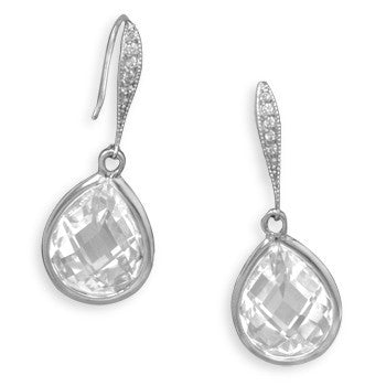 Glamour - Sterling Silver Wire Drop with Checkerboard-Cut Clear Cubic Zirconias