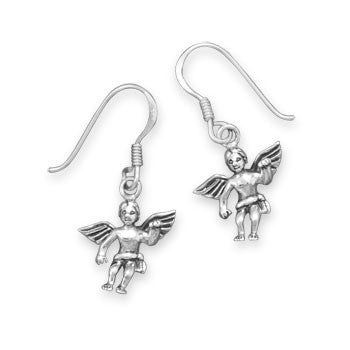Cupid's Love Earrings - Charming Oxidized Sterling Silver Cupid Earrings