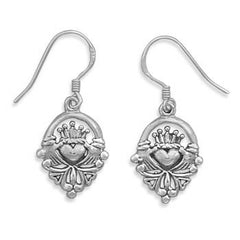 Claddagh Earrings - Irish Symbol Of Friendship Loyalty and Love Oxidized Sterling Silver Claddagh Earrings