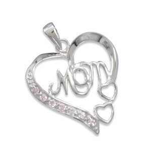 I Love Mom - Simple Yet Beautiful Design Sterling Silver Pendant with Pink Cubic Zirconias