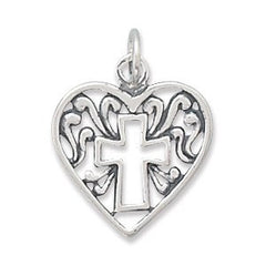 Cathedral Heart - Sterling Silver Pendant with Cross Nestled Heart