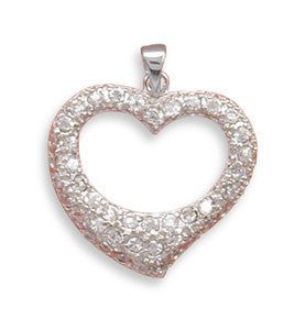 Love Shines - Sparkling Heart Shaped Sterling Silver Pendant with Glittering Cubic Zirconias