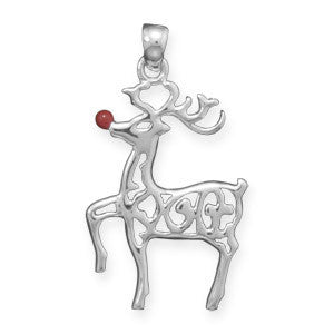 Rudolph Pendant - Red Nosed Reindeer Polished Sterling Silver Cut Out Design Pendant