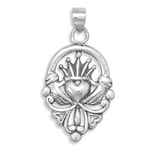 Claddagh Pendant - Symbol Of Friendship Loyalty and Love Oxidized Sterling Silver Irish Claddagh Pendant