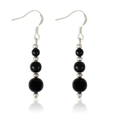 Tempest - USA handmade triple bead onyx drop earrings