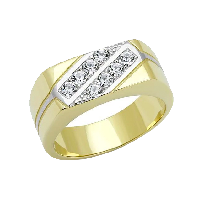 Abner - Men's Gold IP Plated Stainless Steel CZ Statement Ring