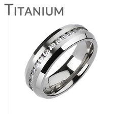 Admiration - FINAL SALE Flashing Beauty Titanium Ring White Cubic Zirconias