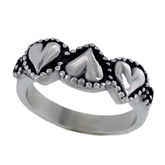 Affection - Stainless Steel Triple Heart Ring With Etching