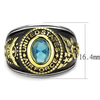 Air Force Strong - Men's Stainless Steel Ion-Plated Two-Tone Gold Ring with Synthetic Sea Blue Center Stone