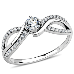 Alice - An Elegant Women's Stainless Steel Ring with AAA Grade Clear CZ Stones