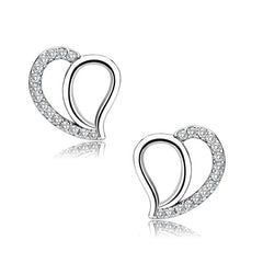 All My Love - Women's Stainless Steel Micro CZ Heart Shaped Earrings