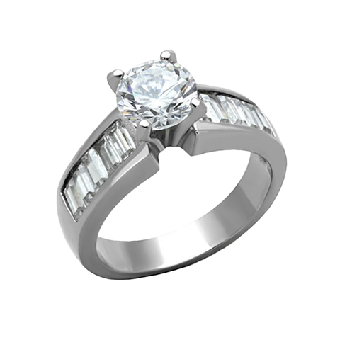 Alluring Shine - Women's High Polished Stainless Steel Ring with AAA Grade Clear CZ Stones