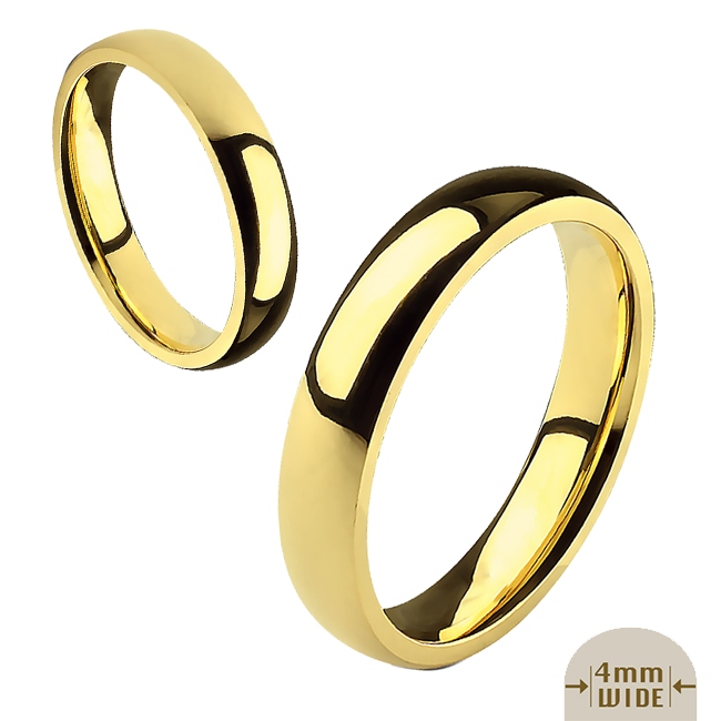 Always - 4mm Mirror Polished Glossy Gold IP Stainless Steel Traditional Wedding Band