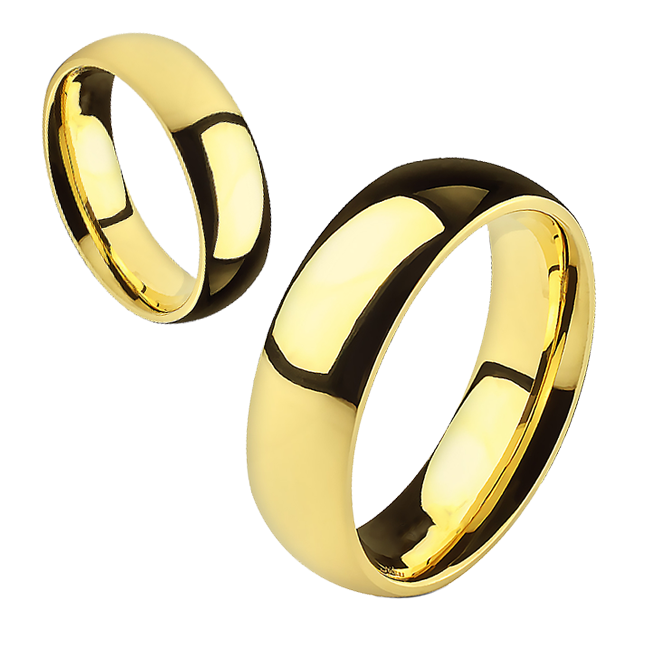 Always - 6mm Mirror Polished Glossy Gold IP Stainless Steel Traditional Wedding Band