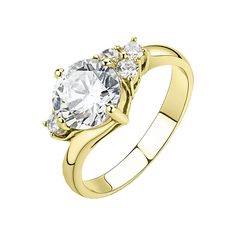 Antoinette - A Stunning Stainless Steel Gold IP Women's CZ Ring