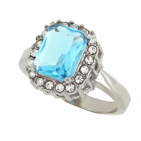 Arctic Frost - FINAL SALE Cushion-Cut Aquamarine CZ Elegant Design Engagement Ring with Multiple Cubic Zirconia's