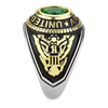 Army Strong - Men's Stainless Steel Ion-Plated Two-Tone Gold Ring with Synthetic Emerald Center Stone